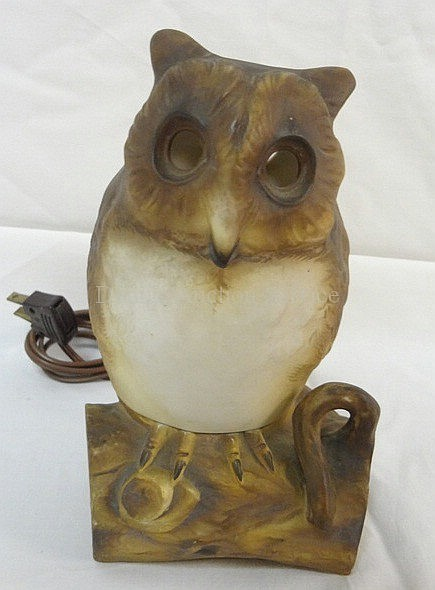 HAND PAINTED NIPPON 2 PC OWL LAMP; HAIRLINE IN THE