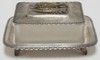 SILVER PLATE AND FROSTED GLASS SARDINE BOX. 7 IN X 6 IN, 3 1/2 IN H. FTD AND HAS FISH HANDLE.