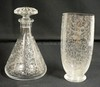 2 PC. SIGNED BACCARAT ETCHED CRYSTAL W/DEER, BIRDS , ETC. DECANTER W/REPLACED STOPPER AND A VASE. TALLEST 8 1/2 IN . DECANTER FOR THOS HINE AND CO COGNAC.