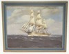 FRAMED O/C OF A SAILING SHIP SIGNED T. BAILEY. 32 IN X 24 IN.