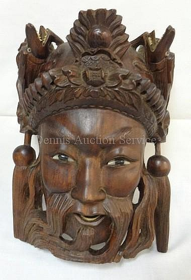 CARVED WOODEN MASK; 9 3/4 IN H