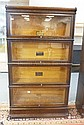 4 STACK OAK SECTIONAL BOOKCASE; 2 SECTIONS GLOBE