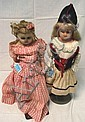 PAIR OF ANTIQUE GERMAN WAX OVER COMPO DOLLS; 17 IN