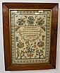 FRAMED SAMPLER W/FLOWERS, BIRDS & BUTTERFLIES,