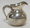 FORD CO. STERLING SILVER PITCHER. BUMBLEBEE MARK.  NO 407. MONOGRAMMED. SMALL DENT ON THE SHOULDER. 6 3/4 IN H,  13.535 T OZ