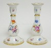 PAIR OF DRESDEN HAND PAINTED CANDLESTICKS. FLORAL. 6 3/4 IN H