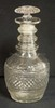 19TH C BLOWN AND CUT 3 RING DECANTER W/ORIGINAL MUSHROOM STOPPER. 9 1/2 IN H