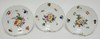 3 HEREND HAND PAINTED PLATES W/ FLOWERS, FRUIT, ETC. 8 IN
