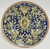 ITALIAN HAND PAINTED ARMORIAL WALL PLATE. 12 1/2 IN