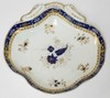 SALOPIAN, ENGLAND EARLY 19TH C HAND PAINTED DISH W, COBALT BLUE AND GOLD. 7 3/4 IN X 7 1/2 IN