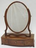 INLAID AND BANDED 3 DRW MAHOGANY SHAVING MIRROR W/ IVORY MEDALLIONS ON THE HARP (ONE IS MISSING). 19 IN WIDE, 24 IN H