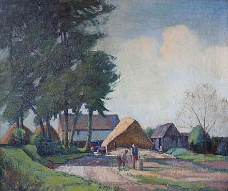 J L Birtwhistle (1883-1948) Figures Before a Farm