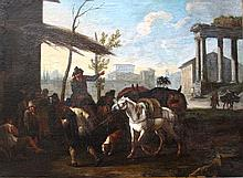 Pieter van Bloemen (1657-1720), A Roman Capriccio at the Forum Romanum with peasants, donkeys, a hor