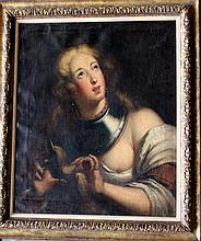Italian school 17th/18th Century, Girl with neck armour cutting her hair, partly naked, in front of