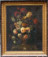 Gaspar Peeter Verbruggen (1664-1730)-attributed, Flower still life in a richly decorated baroque sto