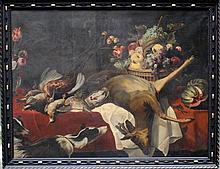 Frans Snyders (1579-1657)-follower, Large still lifewithvenison, flower vase, a basket of fruits,