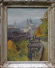 Heinrich Tomec (1863-1928), View of Prague, oil on board, on the reverse old auction label, framed.