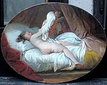 French School late 18th Century,  Naked lady on her bed struggling with Amor, oil on canvas, laid da