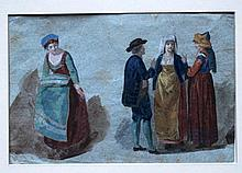 North Italian school around 1800, Study of three ladies and a man in traditional dress, water colour