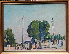German Expressionist around 1920, People promenading at a street, oil on canvas, framed. Signs of ag