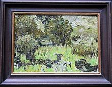 V. Linov, Russian Artist 20th Century, Landscape, oil on board, framed. Signs of age  23x33cm