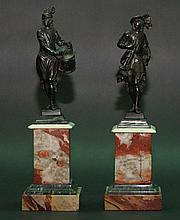 Venetian school, Two bronze sculptures of a drummer and a trumpeter in Renaissance dresses, black pa
