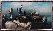 Albert Hertel (1843-1912), Large still life with instruments, jugs, glasses and flowers on a table,