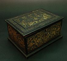 Italian Pastiglia Casket decorated with figural scenes on the top and ornamental decorations to the