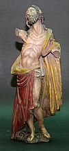 Christ Redeemer, wood carved and original coloured, hands and parts missing, Austrian around 1700. H