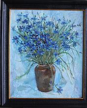 H.C. Sokolova, Russian Artist 20th Century, Flower still life in vase with blue background, oil on c