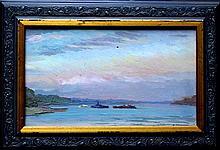 VladimirKrikhatzky (1877 Odessa - 1942 ), Ships on the black sea, oil on board, signed lower right,