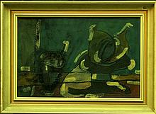 Czech Cubist, 20th Century, Still life, signed dawn right, oil on board, framed. Signs of age.