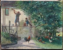 Ludwig Wilhelm Plock (1871-1940), The  chicken court, oil on canvas, signed bottom left. Signs of ag