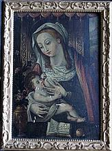 Italian School 17th Century, Madonna with Jesus Child, flowers and a book in front of a wall carpet