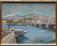 Artist 20th Century, View of Geneve, oil on canvas, signed, framed. Signs of age.  60x75cm