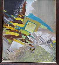 A.V.Krainaja, Artist 20th Century, Abstract composition, monogrammed and dated 91 lower left, oil o