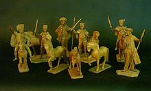Austrian royal guard, 9 very fine carved lime wood