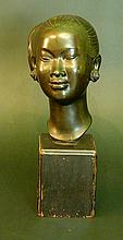 Chinese girl bronze bust, bronze cast with very