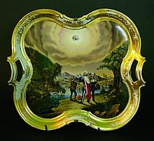 German Porcelain Salver in curved shape with