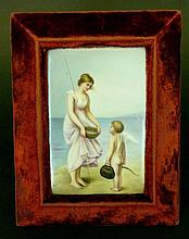 Porcelain painting, a fisher girl by the sea