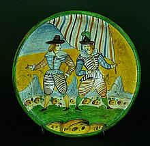 Montelupo Ceramic Plate, with soldiers holding a