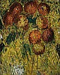 Godfrey Miller 1893 - 1964 APPLES, 1944-46 oil, pen and ink on canvas