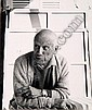 * Beaton (Cecil). Pablo Picasso, [1965], half-length, leaning forward on a radiator with crossed arms and a lit cigarette, silver print, photographer's stamp to verso, pencilling and old glue marks, 195 x 164mm (7.6 x 6.5in.) (1)