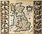[ Maps ] British Isles. Jansson (Jan), Britannia Prout Divisa suit Temporibus Anglo-Saxonum Praesertim Durante Illorum Heptarchia, [1646], engraved map, hand coloured in outline with ornamental title cartouche, flanked by fourteen hand coloured