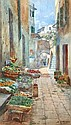 [ Buyers Premium at 17.63% ] Allavena (Michele, 1863-1949). Neopolitan street scene with display of fruit, watercolour, signed, approx. 335 x 190 mm, gilt frame, glazed (1)