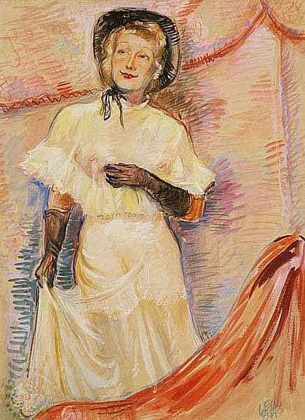 Haas Leo (Opava 1901) A Girl Wearing a Hat, signed