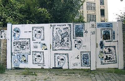 Faile Untitled, five parts, wall paint, stencil,