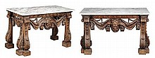 A pair of George II style carved pine console tables, 20th century, each topped with variagated white marble above Vitruvian scroll frieze, lion and human mask swags all on carved legs terminating in acanthus scrolls and block feet 91cm high, 151cm