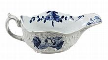 A Worcester blue and white painted sauceboat, circa 1755