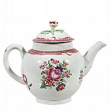A Worcester globular teapot and cover painted in the Companie Des Indes manner